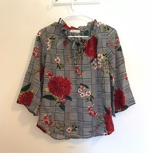 Jon & Anna houndstooth floral blouses